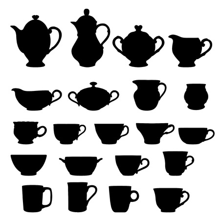 white sugar: Set of cups and teapots isolated over white Illustration