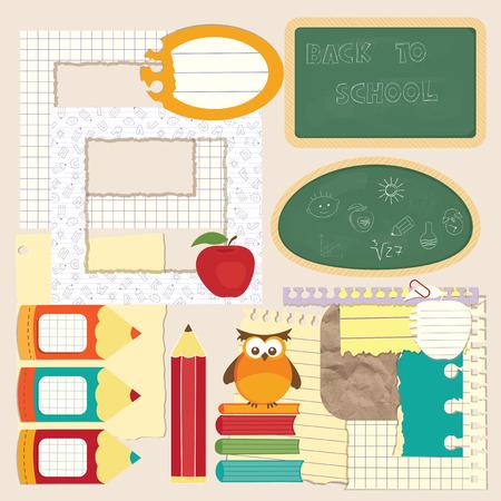 Set of school elements for scrapbook