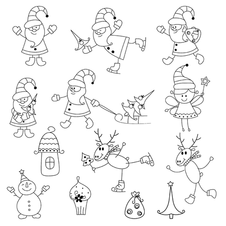 Set of Christmas doodle icons isolated over white Vector