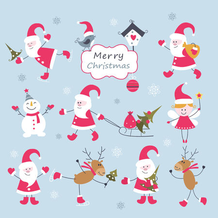 Set of Christmas vintage elements Vector