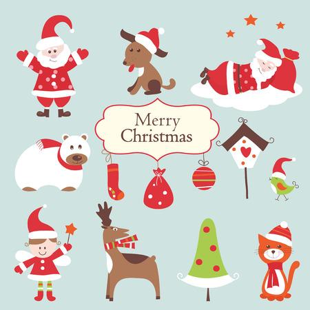 boldog karácsonyt: Állítsa aranyos karácsonyi tárgyak Illusztráció