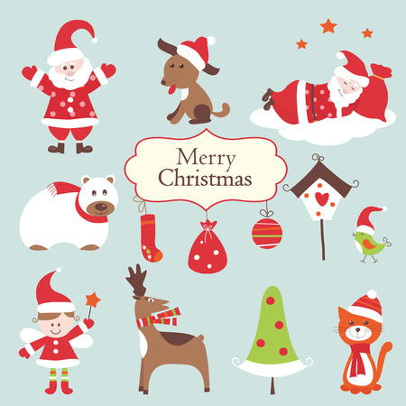 Set of cute Christmas objects Vector