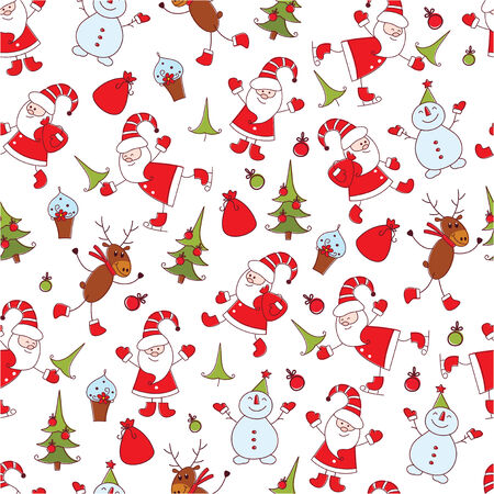Cute Christmas seamless pattern with Santa ,snowman ,deer and christmas tree Vector
