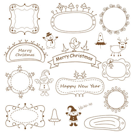 Set of doodle Christmas frames isolated over white Vector