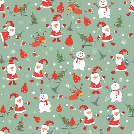 Vintage Christmas seamless pattern with Santa, snowman, deeer and Christmas tree Vector