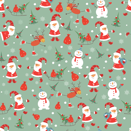 Vintage Christmas seamless pattern with Santa, snowman, deeer and Christmas tree Vector