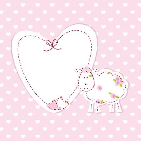 fondo para bebe: Fondo de color rosa beb� con ovejas divertido Vectores