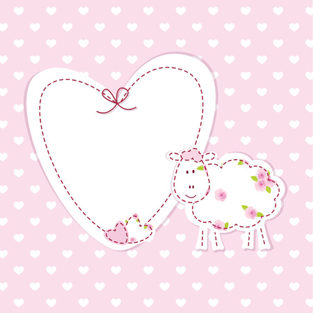 Pink baby background with funny sheep Vector