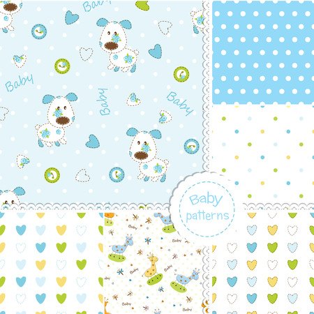 Set of seamless patterns for baby boy Vector