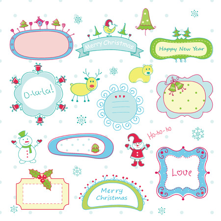 Set of cute doodle Christmas frames Vector