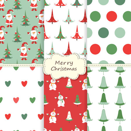 Set of vintage Christmas seamless patterns Vector