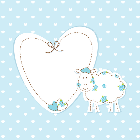 Baby blue background with funny sheep Vector