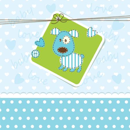 newborn: Baby boy background with puppy Illustration