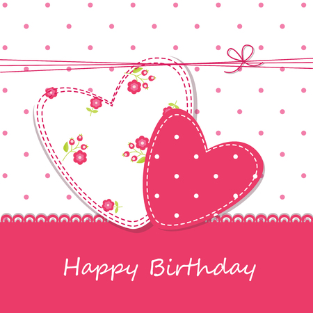 Cute background with hearts for birthday, wedding and Valentines Day Vector