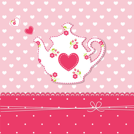 Cute abstract background with teapot Vector