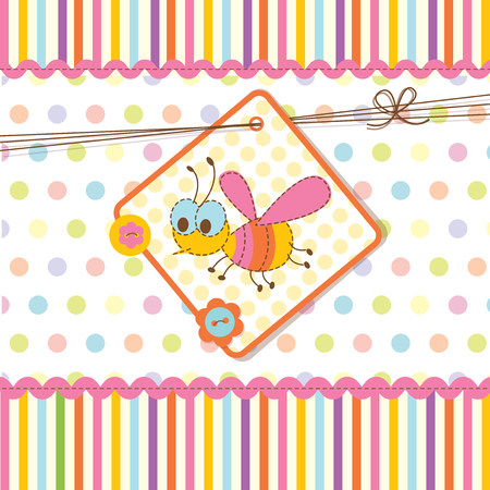 Abstract baby shower with bee Vector