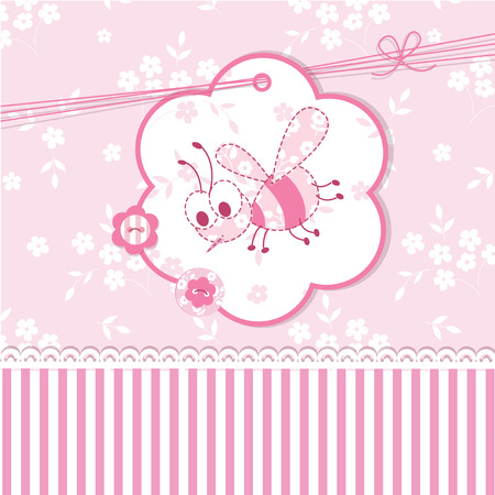 Pink baby shower with bee Vector