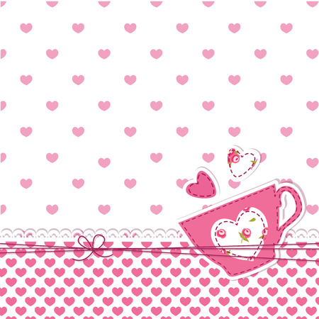 Cute abstract pink  background with cup  Vector