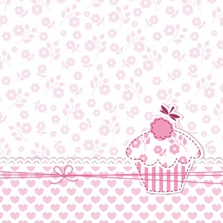 Baby girl shower with cupcake Vector