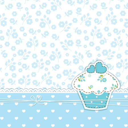 Blue romantic background with cupcake Vector