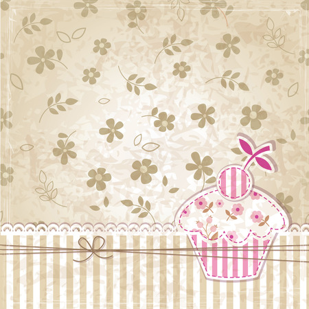 Vintage grunge background with cupcake Vector
