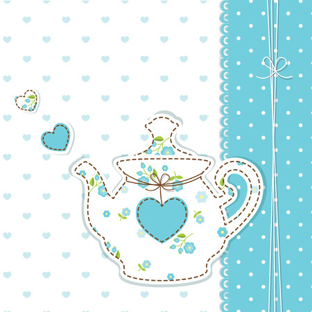 Cute baby background with teapot