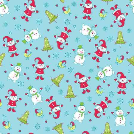Christmas seamless pattern with cute Santa, Snowman and Christmas Tree Vector