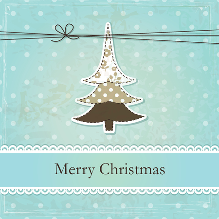 Vintage grunge Christmas background with abstract Christmas Tree Vector