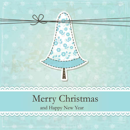 Vintage grunge Christmas background  with cute Christmas Tree Vector