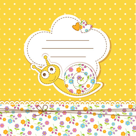 Cute baby background with funny snail Vector