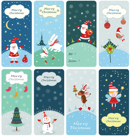 Set of Christmas banners with cute hand drawn elements Vector