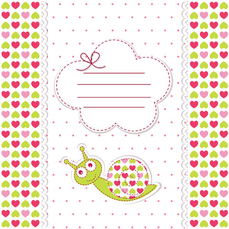 Baby shower with funny snail Vector
