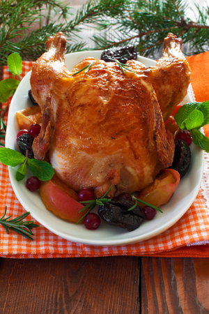 Roasted Christmas whole chicken with prunes and apples over white wood background photo