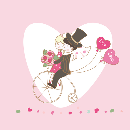 Romantic background with young couple riding a bicycle Vector
