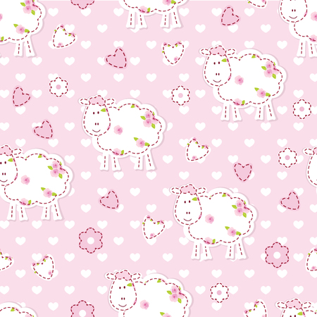 Pink seamless pattern with cute sheep Vector