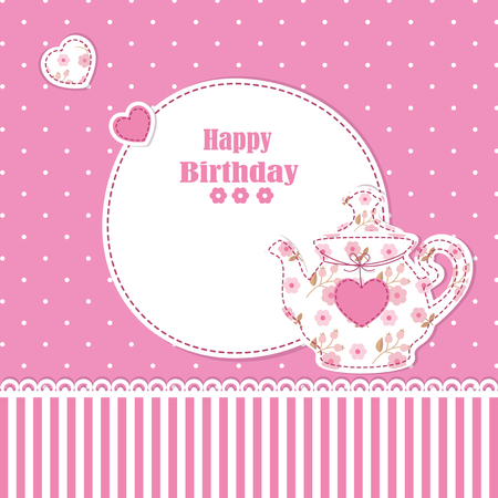 Cute background with teapot for baby shower, birthday, tea party Vector