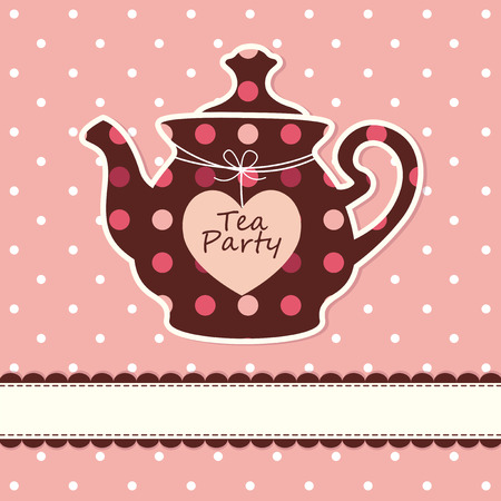 Pink cute background with teapot Vector