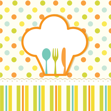 Menu card with polka dots and striped pattern, fork, knife and spoon Vector