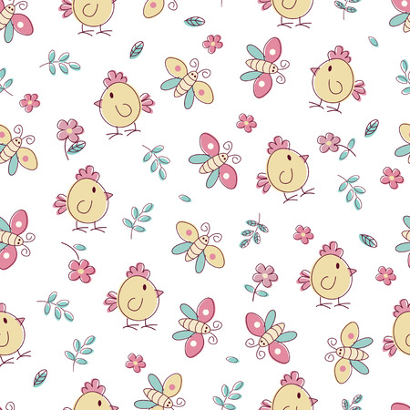 passover and easter chick: Doodle seamless pattern with birds and flowers Illustration