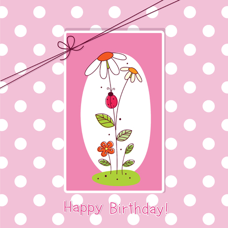 Baby greeting card with flowers and space for text Vector
