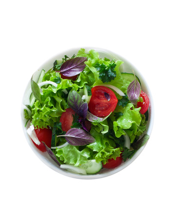 salad plate: Fresh vegetable salad isolated over white