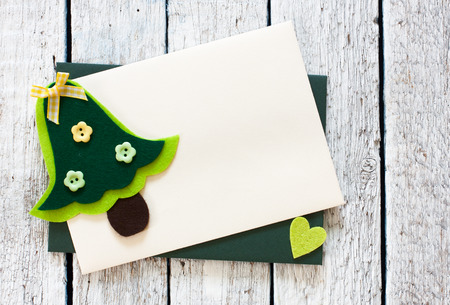 envelops: Christmas background with decorative Christmas Trees templates and envelops