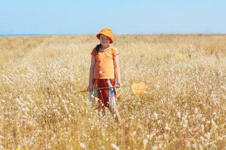 butterfly net: Kid girl with butterfly net on the field
