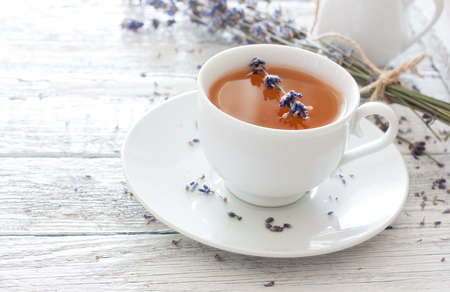 lavender flower: Cup of lavender tea and lavender flowers