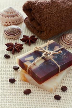 handmade soap: Spa set with chocolate handmade soap, sea shells and double towel