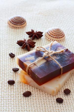 handmade soap: Spa set with chocolate handmade soap, sea shells and anise