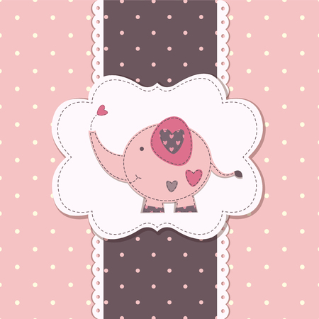 baby girls: Cute baby background with funny elephant Illustration
