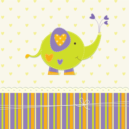 funny baby: Cute baby background with funny elephant Illustration