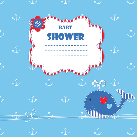baby blue: Baby background with cute ewhale for baby shower, invitation, greetings card Illustration