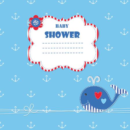 fondo para bebe: Fondo del beb� con ewhale lindo para baby shower, invitaciones, tarjetas de saludos